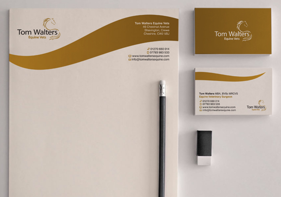 Stationery designs for the equine vets Tom Walters. They wanted to continue their brand's high end look through their letterheads and business card designs.