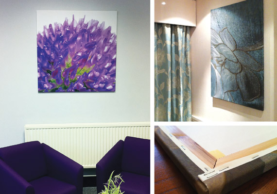 Some of our customised canvas designs in place. We used existing colours and themes to create perfect matching artwork.