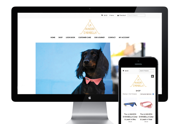 An e-commerce website design for a luxury dog accessory brand. The site is fully responsive and has a content management system for the client to update the shop and site. www.lamaisondarabella.com