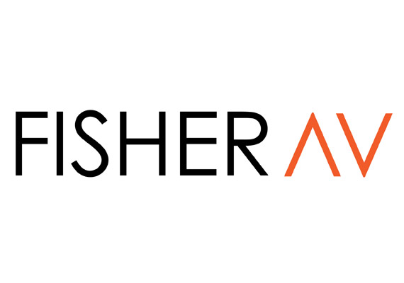 Fisher Audio Visual asked for a more modern look in their rebrand without straying too far from their current look. The image illustrates the design process from their previous logo to their chosen new brand identity.